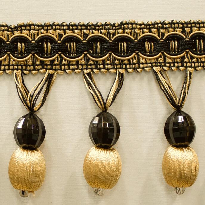 Trim Beaded Design 9 Black Gold