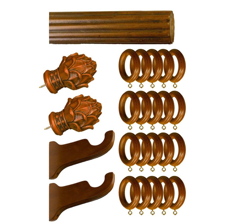 hardware 2 diameter curtain rod wood rasin teak color fluted design 72 long
